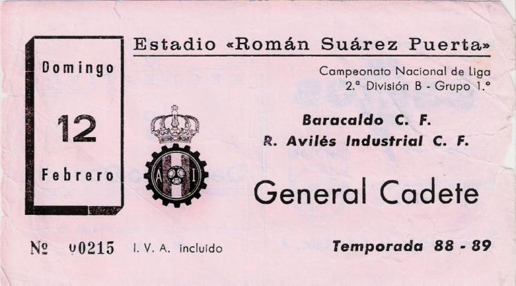 Avilés Industrial Baracaldo C.F. entrada 1988
