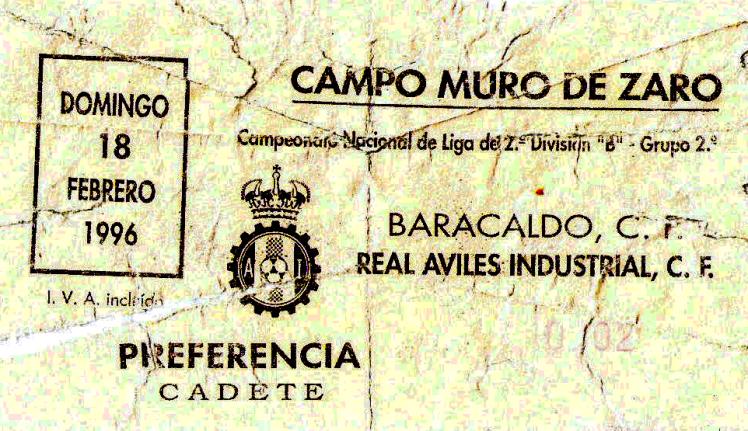 Aviles Barakaldo CF entrada muro de Zaro 1996