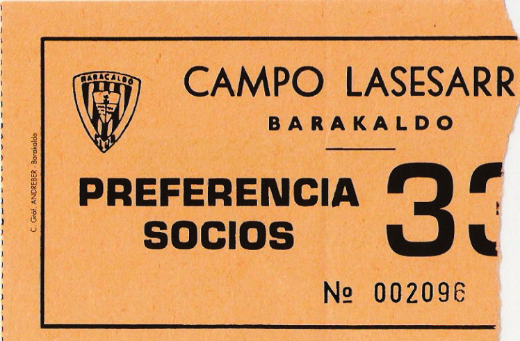 Barakaldo - Sestao Sport entrada Lasesarre 1995