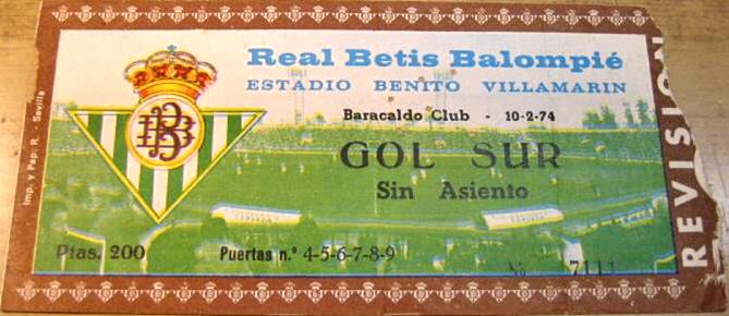 Betis Barakaldo C.F. entrada 1974