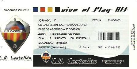 Castellón Barakaldo CF play-off 2003 Castalia entrada