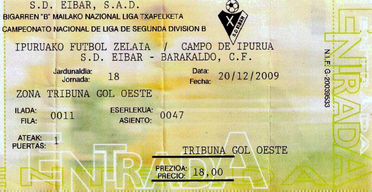 Eibar Barakaldo CF Ipurua entrada 2009