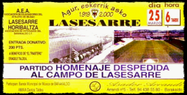 entrada Despedida de Lasesarre 2000 Barakaldo Cf Athletic Club