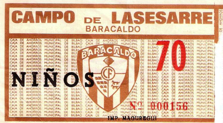 entrada niños Lasesarre Baracaldo C.F. años 80