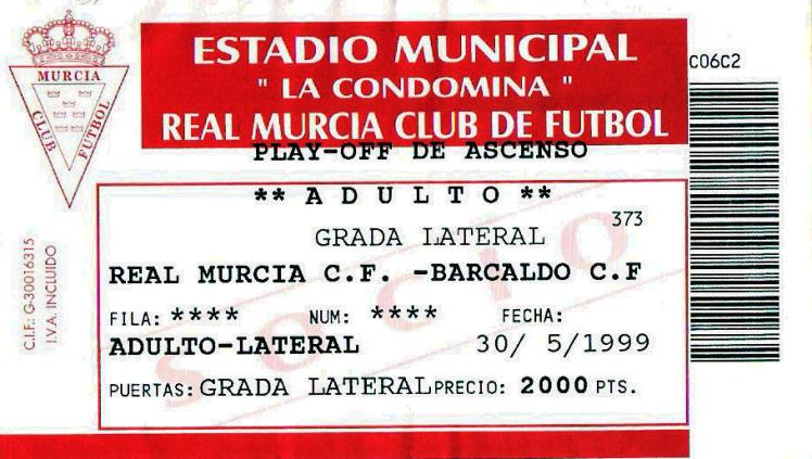 Murcia Barakaldo CF La condomina entrada 1999