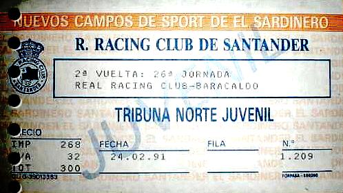 Racing Santander Barakaldo CF 1991 El sardinero 1991