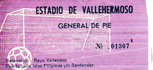 Rayo Vallecano Barakaldo C.F. entrada 1973