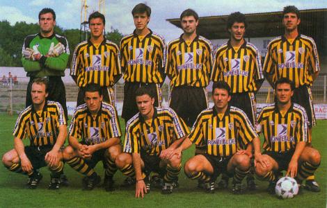 18 de Mayo de 1997. Barakaldo C.F. - Cultural y D. Leonesa. Último partido de la liga regular, temp.1996/97. Castilla. Urizar, Aguirregomezkorta, Zamarripa, Ipiña y Gonzalo (arriba). Xabier Rebollo, Arcadio, Novoa, Moska y Sesé (abajo).