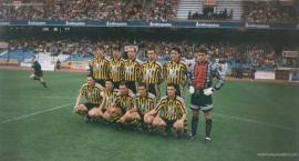 25 de Mayo de 1997. Mikel, Gonzalo, Ibarrondo, Aitor Aguirre, Ayarza y Alvaro Iglesias (de pie). Fuentes, Moska, Izurza, Yuste y Kepa Zarraga (agachados).
